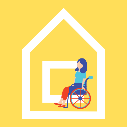 graphic of a young woman in a wheelchair inside a graphic of a house